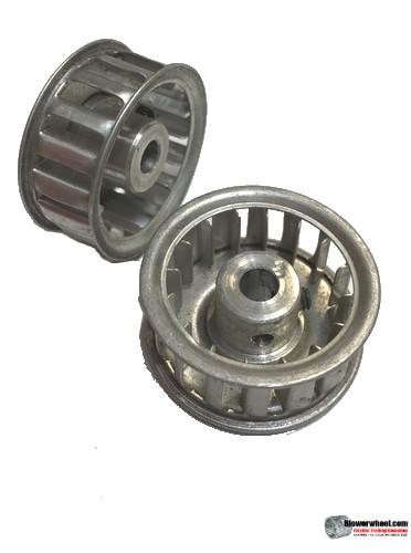 "Single Inlet Aluminum Blower Wheel 1-1/2"" Diameter 5/8"" Width 1/4"" Bore with Clockwise Rotation SKU: 01160020-008-AS-AA-CW-001"