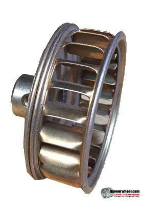 "Single Inlet Galvanized Steel Blower Wheel 2"" Diameter 5/8"" Width 1/4"" Bore with Clockwise Rotation with outside hub SKU: 02000020-008-GS-AA-CW-O-001"