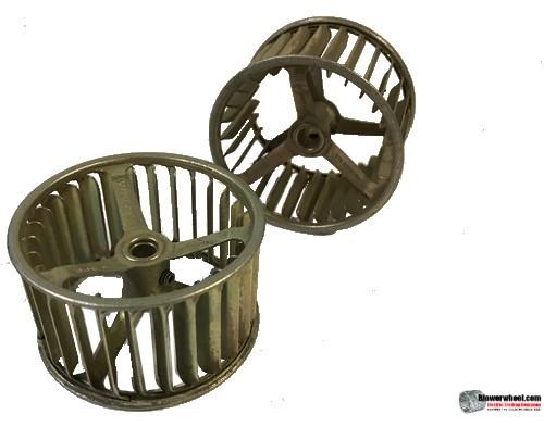 "Single Inlet Galvanized Steel Blower Wheel 2-1/2"" Diameter 1-3/8"" Width 1/4"" Bore with Clockwise Rotation SKU: 02160112-008-GS-AA-CW-001"