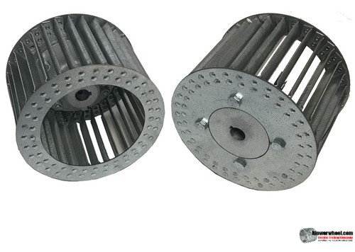 "Single Inlet Aluminum Blower Wheel 6"" Diameter 4-1/8"" Width 1/2"" Bore Counterclockwise rotation with an Inside Hub"