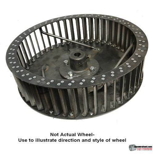 """Single Inlet Steel Blower Wheel 12-3/8"""" D 7-1/2"""" W 7/8"""" Bore-Counterclockwise  rotation- with inside hub an Re-rods SKU: 12120716-028-100-HD-S-CCW-R"""