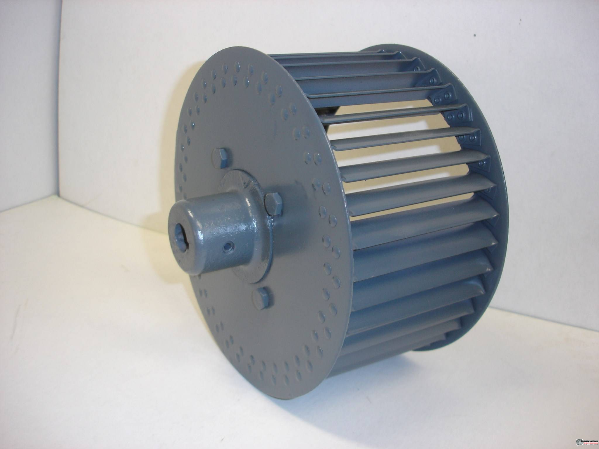 "Single Inlet Aluminum Blower Wheel 9"" Diameter 4-3/8"" Width 1/2"" Bore Clockwise rotation with an Outside Hub"