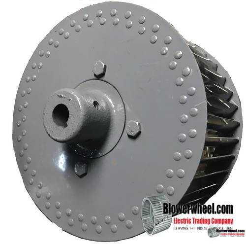 """Single Inlet Steel Blower Wheel - Counterclockwise Rotation - Heavy Duty - 7/8"""" Bore -1-1/2 inch long Outside Hub - Tack Welded Blades and Center Band SKU 11240604-028-HD-S-CCW-O-003-Q1"""