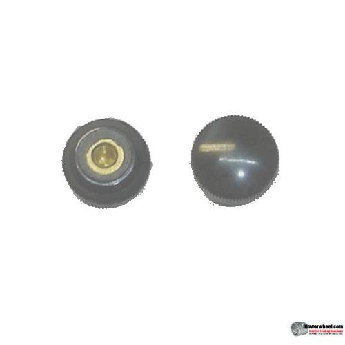 "black-circular-knob-with-horizontal groves-approximately-5/32"" Diameter"