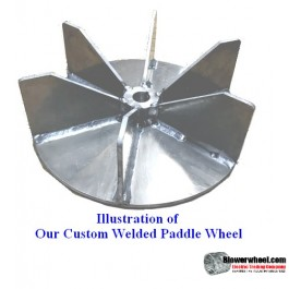 "Paddle Wheel Steel Blower Wheel 15-5/8"" D 5"" W 1-3/8"" Bore- - sku: PW15200500-112-HD-S-BladeFlat8-003"