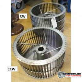 """Single Inlet Steel Blower Wheel 6"""" Diameter 4-3/8"""" Width 1/2"""" Bore Counterclockwise rotation with a Outside Hub and Re-Ring"""