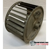 """Single Inlet Steel Blower Wheel 4-11/16"""" Diameter 2-7/8"""" Width 3/8"""" Bore with Counterclockwise Rotation and outside hub SKU: 04220228-012-S-AA-CCW-O-001"""