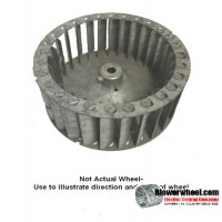 "Single Inlet Galvanized Steel Blower Wheel 4"" D 2-1/4"" W 5/16"" Bore Counterclockwise Rotation-Inside Hub-  SKU: 04000208-010-GS-T-CCW-001"