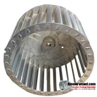 """Single Inlet Aluminum Blower Wheel 6-5/16"""" Diameter 3-3/4"""" Width ½"""" Bore with Counterclockwise Rotation with steel hub SKU: 06100324-016-AS-T-CCW-001"""