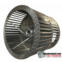 """Double Inlet Aluminum Blower Wheel 18-1/2"""" D 18-1/4"""" W 1-11/16"""" Bore-Clockwise-Counterclockwise  rotation- single neck hub with Re-rods  SKU: 18151808-122-HD-A-CCWCWDW-R"""