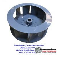 "Backward Incline Steel Blower Wheel 12-5/8"" D 5"" W 1-7/16""Hub-Clockwise - inside hubs- Flat top (NO CONE) - SKU: BIW12200500-114-HD-S-CW"