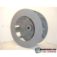"Single Inlet Blower Wheel 12-3/4"" D 4-3/4"" W 1"" Bore SKU: BIW12240424-100-S-Blade9Flat-0900Inlet-CW-01"