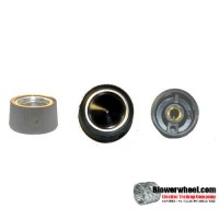 black-circle-with silver-trim-top-knob-with-horizontal-groves-and-set-screw