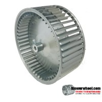 "Lau Double Inlet Aluminum with Steel Hub Blower Wheel 6-5/16"" diameter 6-3/8"" width 3/4"" bore Clockwise Rotation"