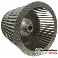 "Double Inlet Aluminum Blower Wheel 7-1/2"" D 6-1/2"" W 1/2"" Bore-Clockwise  rotation SKU: 07160616-016-HD-A-CWDW"