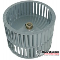 "Double Inlet Steel Blower Wheel 9-1/2"" D 6"" W 1/2"" Bore-Counterclockwise  rotation- SKU: 09160600-016-HD-S-CCWDW"