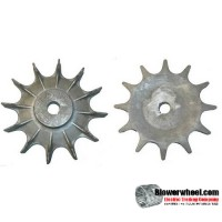 "Impeller Blower Wheel 11-1/2"" D 2"" W 1-3/8"" Bore SKU: IP11160200-112-HD-A-12B- Inner120-outer216-016concave-Hub 4""D  and 1"" W- 12 Blades-Inner Blade seperation: 1-5/8 in -Outer Blade seperation: 2-1/2 in -Concave: 1/2in - SHELF WORN"