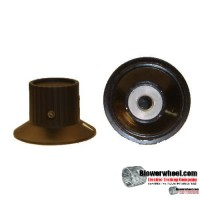 "Top-Hat-Design-2-set-screw-with indicator. Total Height: 15/16"";Top Height:  ¾"",Top Diameter: 7/8"",Bottom Diameter: 1-1/2"",Inside diameter: ¼"""