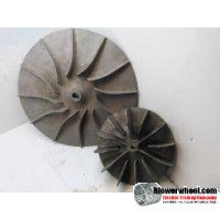 "Paddle Wheel Cast Aluminum Blower Wheel 13-1/2"" Diameter 1-1/2"" to 9/16"" Width 11/16"" Bore with Clockwise-Counterclockwise Rotation SKU: PW13160116to0018-022-CastA-Blade12Flat-Radial Design-01"