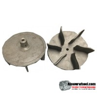 "Paddle Wheel Cast Aluminum Blower Wheel 8-1/2"" Diameter 3"" Width 1/2"" Bore with    with an outside hub SKU: PW08160300-016-CastA-Blade6Foil-01 AS IS"