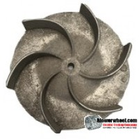 "Paddle Wheel Cast Aluminum Blower Wheel 9"" Diameter 3-1/4"" Width 1/2"" Bore with clockwise Rotation and outside hub SKU: pw09000308-016-casta-6curve-xw-o concave-O-001 AS IS"