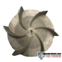 "Paddle Wheel Cast Aluminum Blower Wheel 9"" Diameter 3-1/4"" Width 1/2"" Bore with Counterclockwise Rotation and outside hub SKU: pw09000308-016-casta-6curve-ccw-o concave-O-001 AS IS"