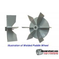 "Paddle Wheel Aluminum Blower Wheel 11-1/4"" D 4-1/2"" W 1-1/8"" Bore-  rotation- with inside hub/outside hub, Welded- SKU: PW11080416-104-HD-A-BladeFlat6-IHOH"