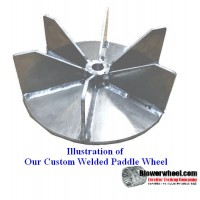 "Paddle Wheel(Paper) Steel Blower Wheel 15-7/16"" D 7"" W 1-3/8"" Bore - 6 blades- sku: PW15140700-112-HD-S-BladeFlat6"