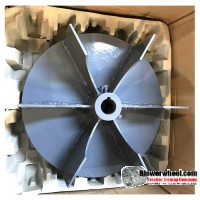 "Welded Steel Paddle Wheel Blower Wheel 13-1/2"" D 4-3/8"" W 7/8"" Bore - with inside hub  and 6 Flat Blades SKU: PW13160412-028-HD-S-6FBlade"