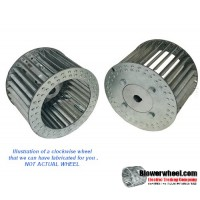 "Single Inlet Steel Blower Wheel 12-3/8"" Diameter 6"" Width 1"" Bore Clockwise rotation with an Inside Hub"