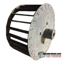 """Single Inlet Steel Blower Wheel 9"""" Diameter 4-3/8"""" Width 5/8"""" Bore with Counterclockwise Rotation with outside hub SKU: 09000412-020-S-T-CCW-O-001"""