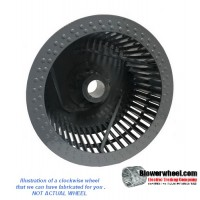 """Single Inlet 316 Stainless Steel Blower Wheel 10-13/16"""" Diameter 4-3/8"""" Width 11/16"""" Bore Clockwise rotation with Inside Hub with Re-Rods and Re-Ring"""