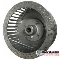 """Single Inlet Steel Blower Wheel 9-3/4"""" D 4-3/8"""" W 19mm Bore-Clockwise  rotation- with inside hub and re-rods SKU: 09240412-19mm-HD-S-CW-R"""