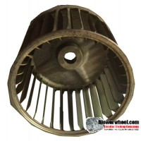 "Single Inlet Steel Blower Wheel 3-3/4"" Diameter 3"" Width 1/4"" Bore with Counterclockwise Rotation SKU: 03240300-008-S-AA-CCW-001"