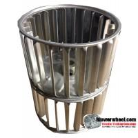 "Double Inlet Steel Blower Wheel 3-13/16"" Diameter 4-15/16"" Width 3/8"" Bore with Counterclockwise Rotation SKU: 03260430-012-S-AA-CCWDW-001"