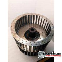 """Double Inlet Aluminum Blower Wheel 9"""" Diameter 7-1/4"""" Width 1"""" Bore Counterclockwise rotation with a Single Neck Hub"""